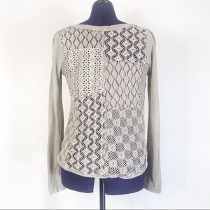 Free People Light Gray Lace Long Sleeve Top